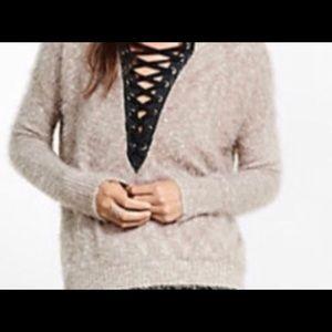 Express Mauve Fuzzy Lace Up Sweater